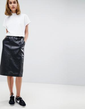 Moss Copenhagen Кожаная юбка миди. Цвет: черный