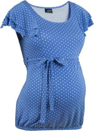Мода для беременных: праздничная футболка (небесно-голубой/белый в горошек) bonprix. Цвет: небесно-голубой/белый в горошек