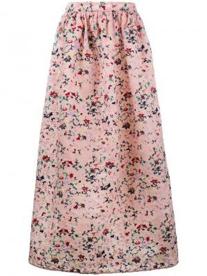 Плиссированная юбка с цветочной вышивкой Huishan Zhang. Цвет: розовый и фиолетовый
