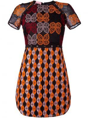 Платье с вышивкой Giamba. Цвет: чёрный