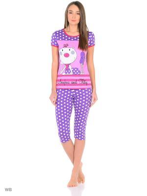 Пижама-футболка, бриджи NAGOTEX. Цвет: сиреневый, розовый, белый