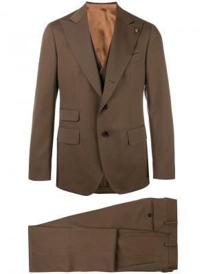 Однобортный костюм Gabriele Pasini. Цвет: коричневый