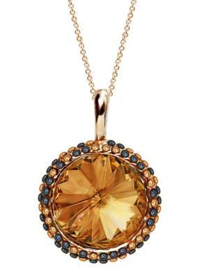 Кулон Enigme с медовыми кристаллами Swarovski Mademoiselle Jolie Paris. Цвет: темно-коричневый, терракотовый, коричневый, бронзовый, светло-коричневый, рыжий, светло-оранжевый, оранжевый, золотистый, желтый