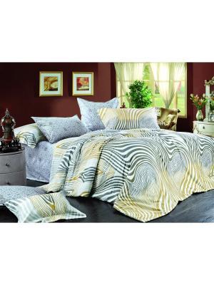 Постельное белье Zebra 2,0 сп.Euro Amore Mio. Цвет: белый, серый, золотистый