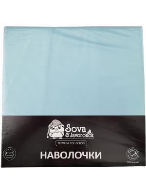Наволочка 70*70 Sova and Javoronok. Цвет: светло-голубой