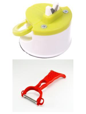 Точилка на присоске салатовая + нож для чистки овощей Радужки. Цвет: салатовый