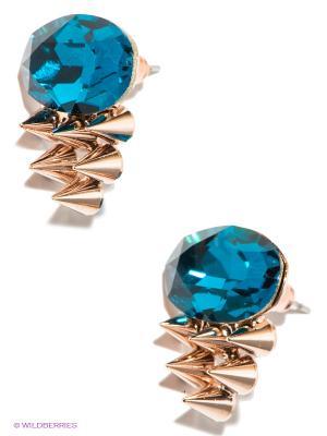 Серьги Royal Diamond. Цвет: синий, золотистый