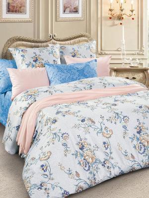 Комплект постельного белья, сатин, дуэт Letto. Цвет: голубой, бежевый, белый