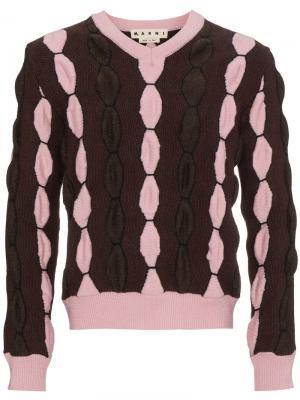 Свитер с V-образным вырезом Marni. Цвет: розовый и фиолетовый