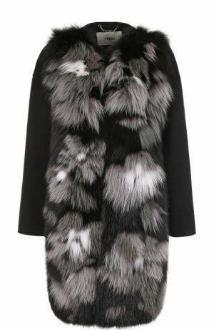 Кашемировое пальто с отделкой из меха лисы Fendi. Цвет: черный