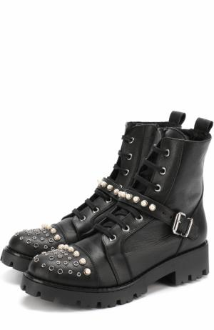 Кожаные ботинки с декором и ремешком Ermanno Scervino. Цвет: черный