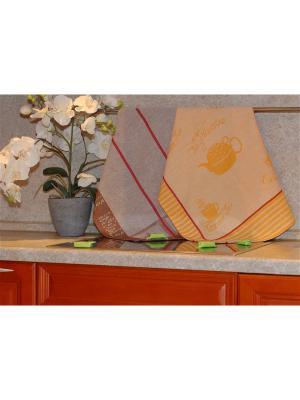 Набор жаккардовых полотенец 50х70 2 штуки SET-12 (Чай Маэстро,Кофе) в пакете ТекСтиль для дома. Цвет: желтый, коричневый, красный