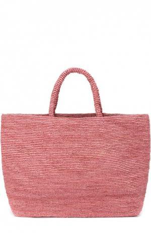 Плетеная сумка Walata из рафии Sans-Arcidet. Цвет: розовый