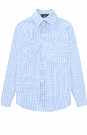 Хлопковая рубашка в мелкую клетку Dal Lago. Цвет: голубой
