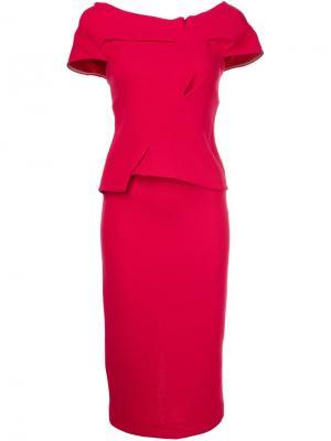 Платье c V-образным вырезом Roland Mouret. Цвет: розовый и фиолетовый