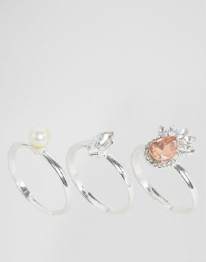 Johnny Loves Rosie 3 кольца с жемчугом и камнями. Цвет: серебряный