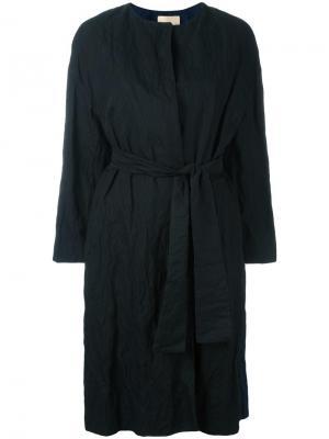 Пальто без воротника с поясом Erika Cavallini. Цвет: чёрный