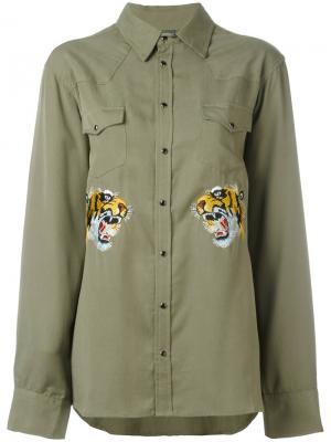 Рубашка с вышитым тигром Laneus. Цвет: зелёный