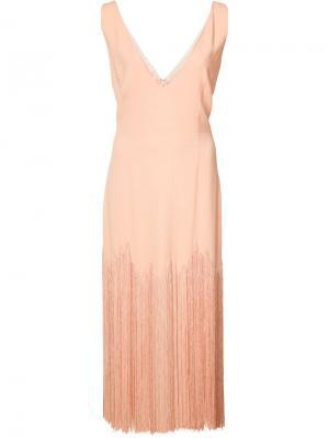 Платье с бахромой и V-образным вырезом Sally Lapointe. Цвет: розовый и фиолетовый