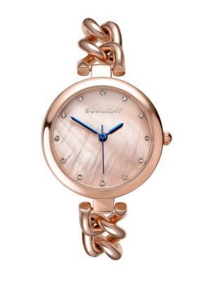 Часы наручные Sunlight. Цвет: розовый, золотистый