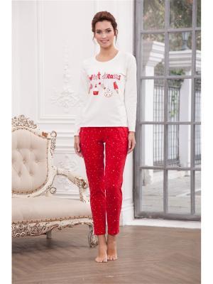 Пижама CLEO. Цвет: молочный, красный