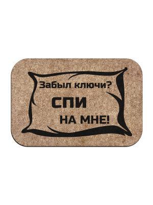 Коврик придверный Спи на мне MoiKovrik. Цвет: темно-бежевый