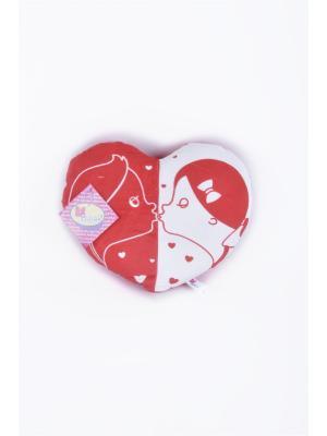 Мягкая игрушка Сердце поцелуйчик 31.31.2 цвет красно-белый Malvina. Цвет: белый, красный