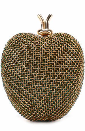 Клатч со стразами на цепочке David Charles. Цвет: зеленый