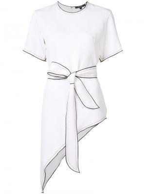 Asymmetric belted T-shirt Derek Lam. Цвет: белый