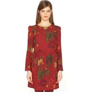 Платье короткое с длинными рукавами PEPALOVES. Цвет: рисунок бордовый