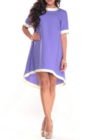 Свободное платье с контрастной отделкой Laura Bettini. Цвет: сиренево-белый