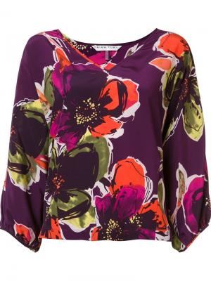 Блузка с цветочным принтом Trina Turk. Цвет: розовый и фиолетовый