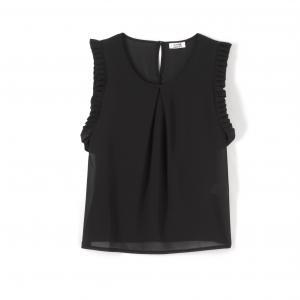 Блузка без рукавов, с бахромой MOLLY BRACKEN. Цвет: черный