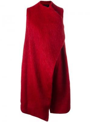 Ворсистое пальто без рукавов Federica Tosi. Цвет: красный