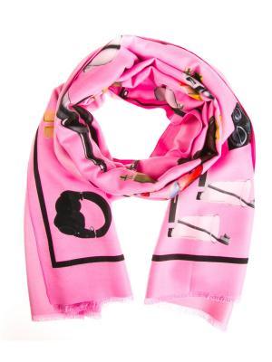 Палантин Vita pelle. Цвет: розовый, черный