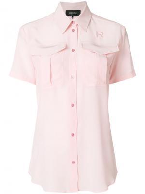 Блузка с вышивкой логотипа Rochas. Цвет: розовый и фиолетовый