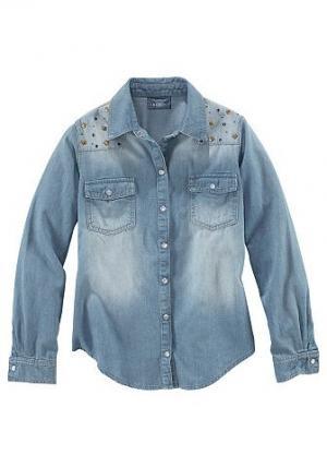 Джинсовая рубашка с апликацией Arizona. Цвет: синий с эффектом состаренности
