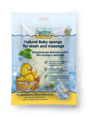 Натуральная детская губка для мытья и массажа Babyline. Цвет: кремовый, серо-зеленый
