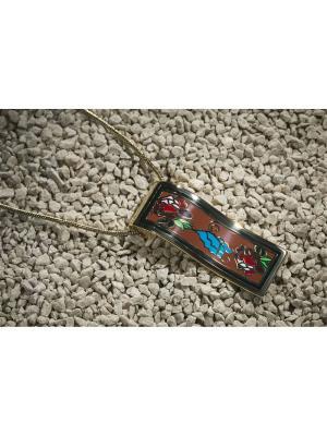 Набор украшений Дикая роза: цепочка с кулоном и серьги Nothing but Love. Цвет: золотистый, голубой, коричневый
