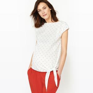 Блузка из хлопка для периода беременности La Redoute Collections. Цвет: белый/ синий