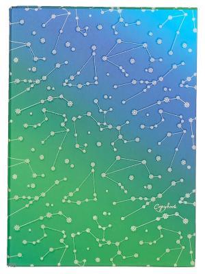 Тетрадь на кольцах 120 листов.Созвездия (орнамент) Канц-Эксмо. Цвет: зеленый, синий, голубой