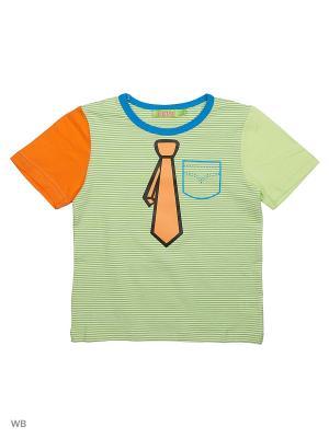 Футболка Liguo. Цвет: салатовый, белый, оранжевый