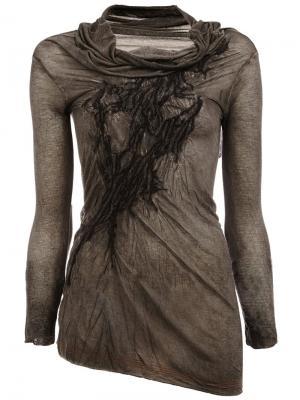Асимметричная блузка Masnada. Цвет: серый