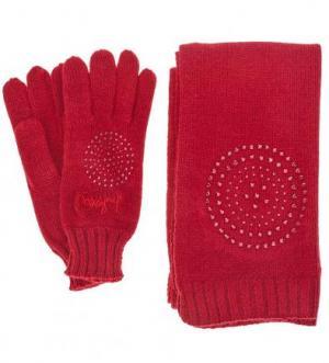 Комплект из вязаных шарфа и перчаток Desigual. Цвет: бордовый