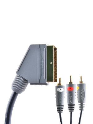 Кабель SCART вилка - 3xRCA вилка, GOLD, композитное видео+стерео-аудио, с переключателем, 1.8 м. Belsis. Цвет: серый