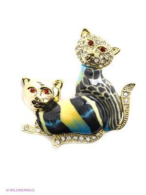 Брошь Bijoux Land. Цвет: синий, желтый, золотистый