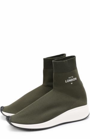 Текстильные кроссовки Fly to London Joshua Sanders. Цвет: хаки