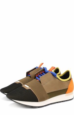Текстильные кроссовки Race с отделкой из натуральной кожи Balenciaga. Цвет: хаки