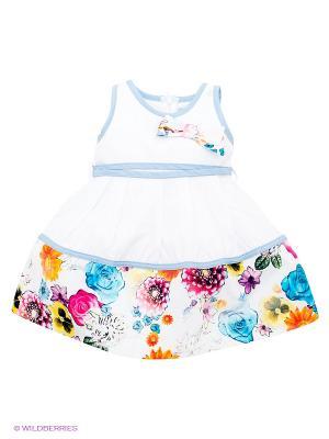 Платье Baby Rose. Цвет: белый, голубой, оранжевый