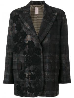 Пиджак в клетку с аппликацией Antonio Marras. Цвет: многоцветный